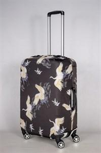 """Чехол для среднего чемодана """"журавли на черном фоне"""" 13428"""