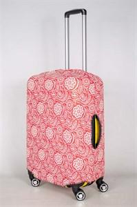 """Чехол для среднего чемодана """"белые снежинки на красном фоне"""" 13432"""