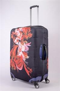 """Чехол для большого чемодана """"красный цветок на черном фоне"""" 13468"""