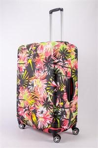 """Чехол для большого чемодана """"яркие цветы на черном фоне"""" 13481"""