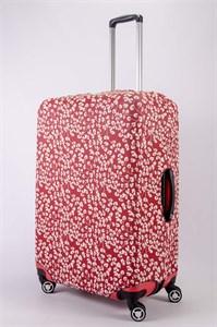"""Чехол для большого чемодана """"белые цветы на красном фоне"""" 13486"""