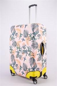 """Чехол для большого чемодана """"листья папоротника на розовом фоне"""" 13499"""