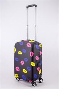 """Чехол для маленького чемодана """"разноцветные губы на черном фоне"""" 13511"""