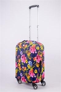 """Чехол для маленького чемодана """"разноцветные розы на синем фоне"""" 13512"""