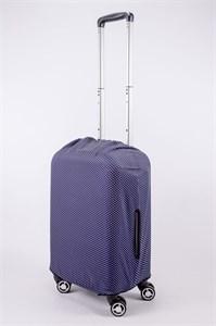 """Чехол для маленького чемодана """"мелкий белый горошек на синем фоне"""" 13516"""
