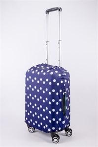 """Чехол для маленького чемодана """"крупный белый горошек на синем фоне"""" 13517"""