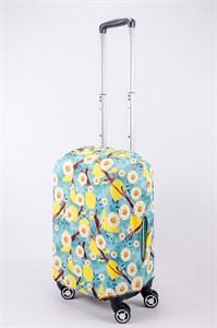 """Чехол для маленького чемодана """"желтые цветы на бирюзовом фоне фоне"""" 13520"""