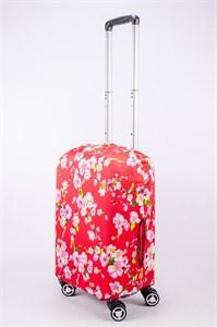"""Чехол для маленького чемодана """"сакура на красном фоне"""" 13524"""