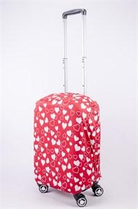 """Чехол для маленького чемодана """"сердечки на красном фоне"""" 13525"""