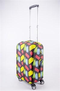 """Чехол для маленького чемодана """"разноцветные полосы на черном фоне"""" 13527"""
