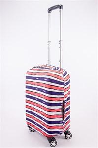 """Чехол для маленького чемодана """"синие,белые,красные полосы"""" 13532"""