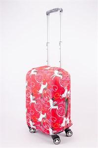 """Чехол для маленького чемодана """"единороги на красном фоне"""" 13538"""
