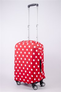 """Чехол для маленького чемодана """"белый горошек на красном фоне"""" 13544"""