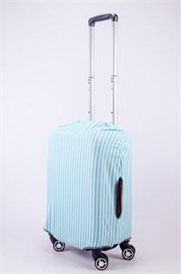 """Чехол для маленького чемодана """"бело-голубые полоски"""" 13546"""