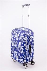 """Чехол для маленького чемодана """"длинные разные цветы на синем фоне"""" 13550"""