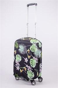 """Чехол для маленького чемодана """"лопухи, цветы, листья на черном фоне""""  13543"""