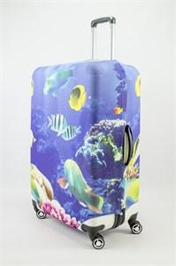 """Чехол для большого чемодана """"морской пейзаж с рыбками"""" 13509"""