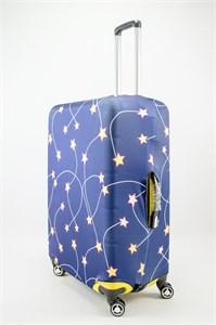 """Чехол для большого чемодана """"желтые звезды на синем фоне"""" 13506"""
