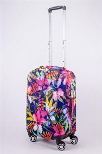 """Чехол для маленького чемодана """"разные цветы на темном фоне"""" 13551"""