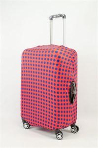 """Чехол для среднего чемодана """"синий горох красном фоне"""" 13618"""