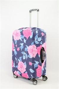 """Чехол для среднего чемодана """"розы и синие листья на темном фоне"""" 13628"""