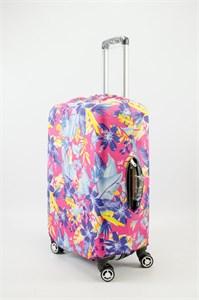 """Чехол для среднего чемодана """"разноцветные листья на розовом фоне"""" 13629"""