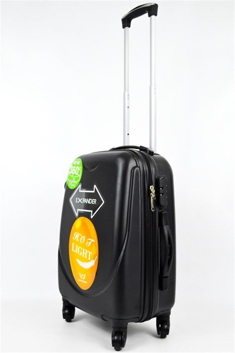 Чемодан маленький ABS+PC 360-гр  черный - фото 20629