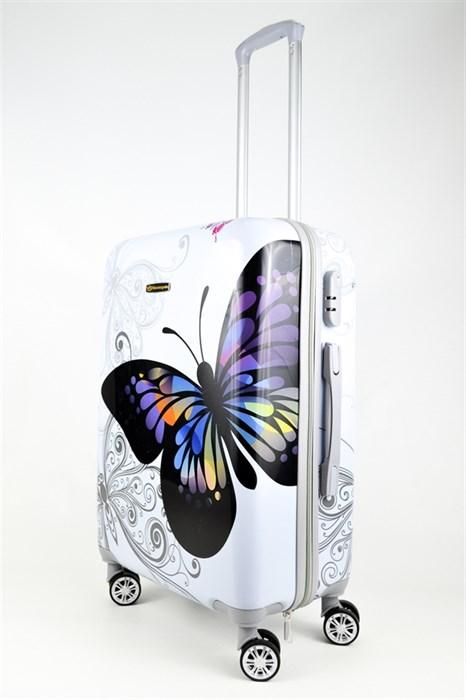 Чемодан средний ABS Корона бабочка белая - фото 26565