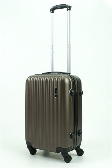Чемодан маленький ABS (8 верт  полос ) коричневый (Ч) - фото 29271