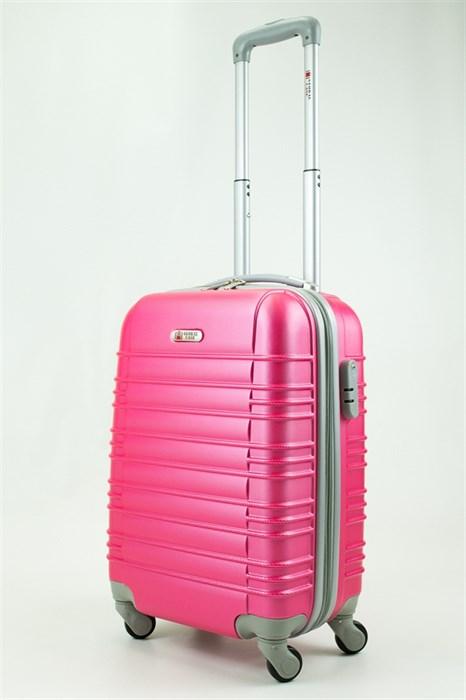Чемодан маленький ABS GC прод  полос  розовый - фото 29505
