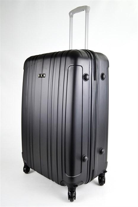 Чемодан большой пластиковый черный 02120 - фото 31700