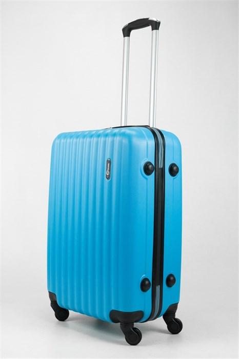 Чемодан средний ABS TT (верт  полоски) голубой - фото 32029