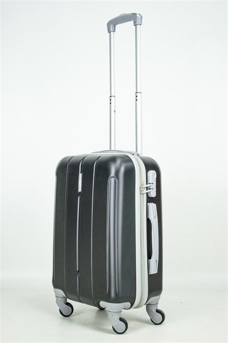 Чемодан маленький ABS KK верт  полос  черный - фото 33644