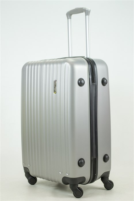 Чемодан средний ABS Royal McQueen (верт  полосы) серебро (Ч) - фото 33771