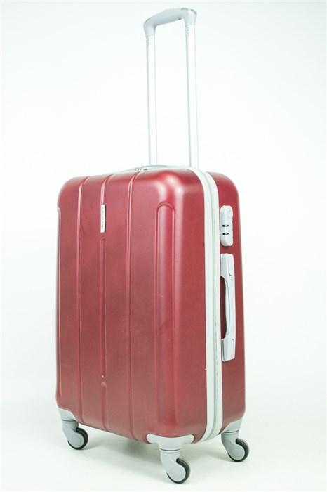 Чемодан средний ABS KK (три полоски) бордовый - фото 34237