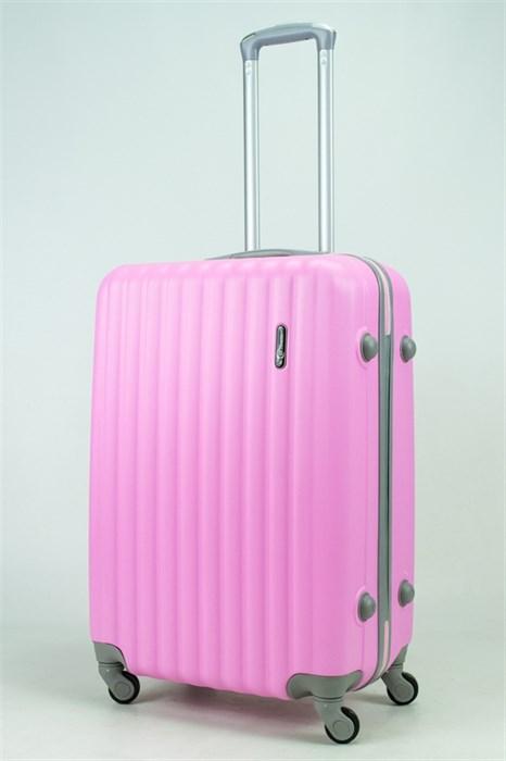 Чемодан средний ABS TT (верт  полоски) розовый СФ OZ - фото 34343