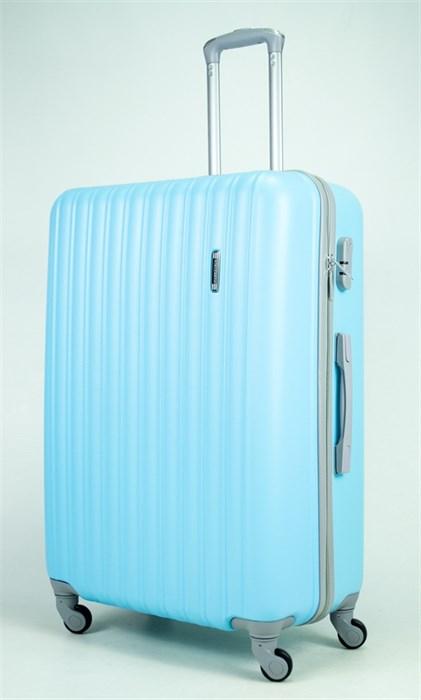 Чемодан большой ABS KK 10(11) полос  голубой  (С) - фото 34585
