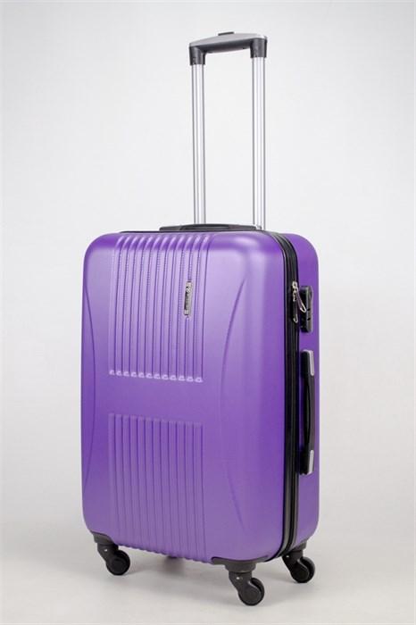 Чемодан средний ABS Hossoni (8 верт  полос ) фиолетовый (2) - фото 35868