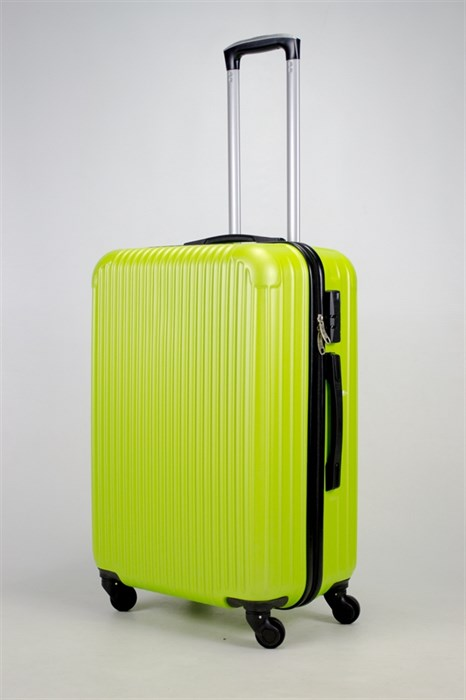 Чемодан средний ABS KK верт  полоски  зеленый - фото 36020