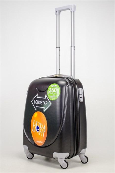 Чемодан маленький ABS 360-гр smile черный - фото 37134