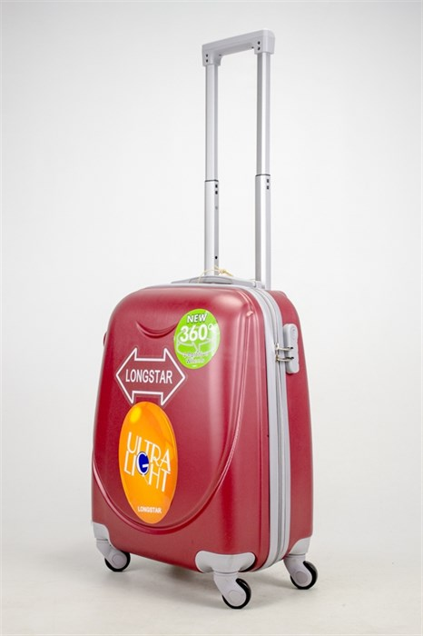 Чемодан маленький ABS 360-гр smile бордовый - фото 37413