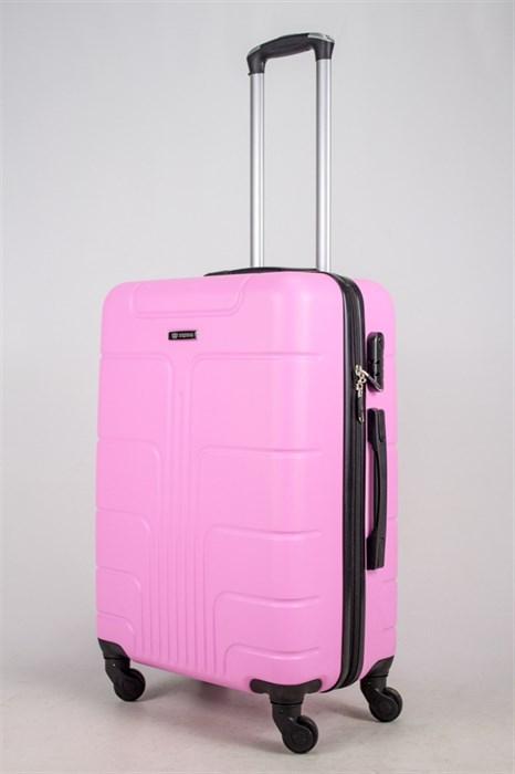 Чемодан средний ABS Корона (верт  полоски) розовый ЧФ - фото 37499