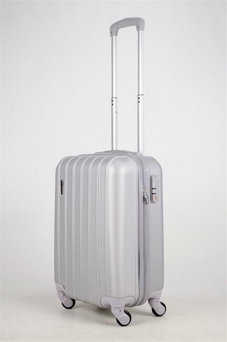Чемодан маленький ABS Passion 7 верт.линий серебро - фото 37647