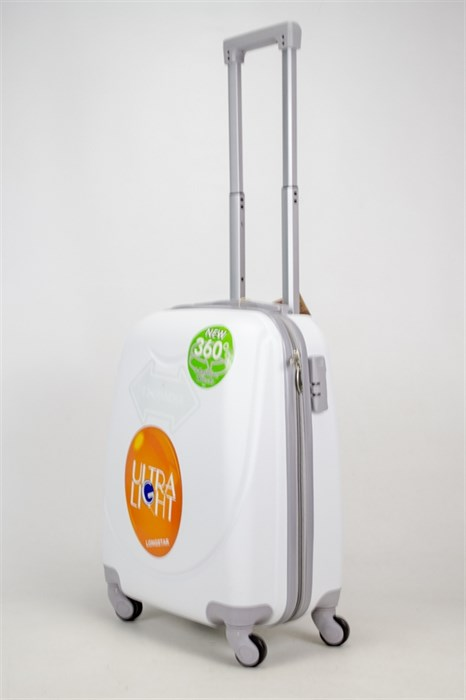Чемодан маленький ABS 360-гр smile белый - фото 38098