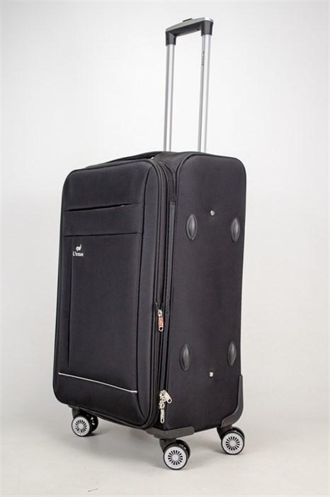 Чемодан средний L'case текстиль съемные колеса черный - фото 38119