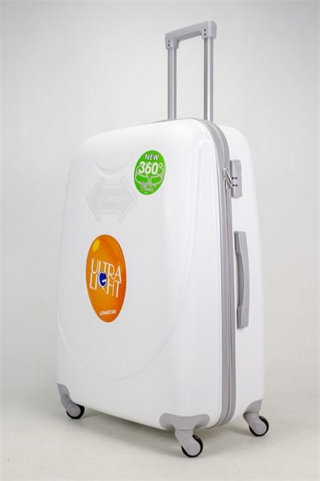 Чемодан большой ABS 360-гр smile  белый - фото 38226