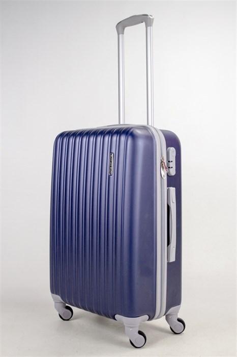 Чемодан средний ABS KK (верт полосы) темно-синий - фото 38528