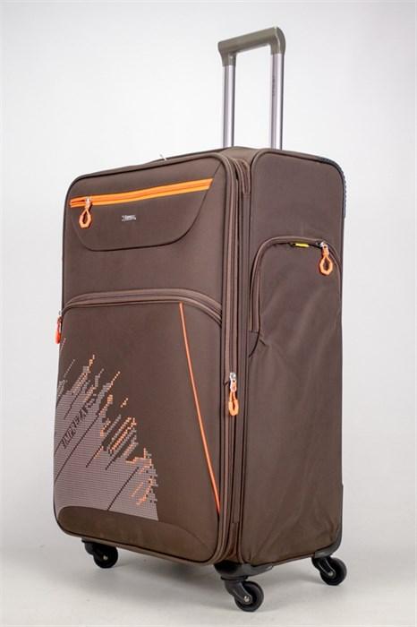 Чемодан текстильный большой Impreza (с аппликацией) коричневый съемные колеса - фото 38915