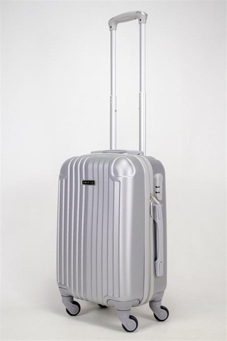 Чемодан маленький ABS KK (верт полосы и уголки) серебро  СФ - фото 38980