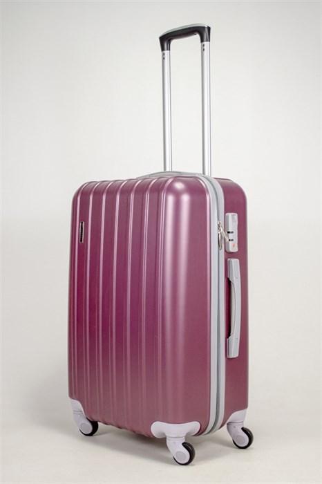 Чемодан средний ABS PASSION (верт  полоски) бордовый - фото 39023